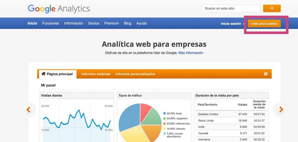 guia de google analytics crear cuenta